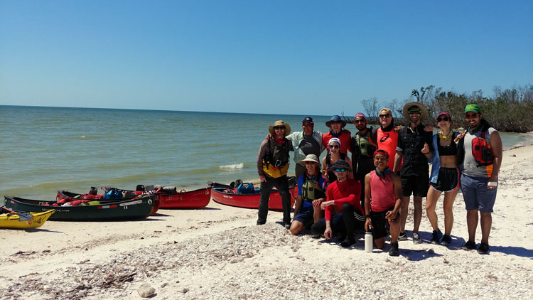 NC State students on sea kayaking trip.