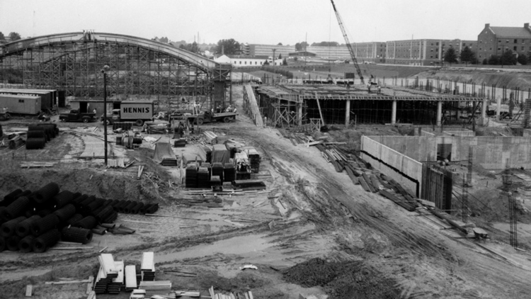 Construction of Carmichael Gym in 1959