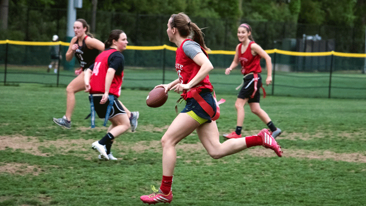 NC State students playing flag football