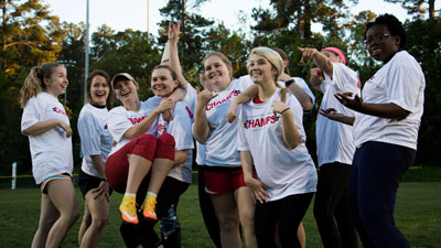 Students celebrating Intramural Sports Championship