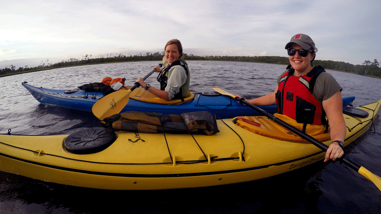 NC State students kayaking on Wolfpack Bound Trip