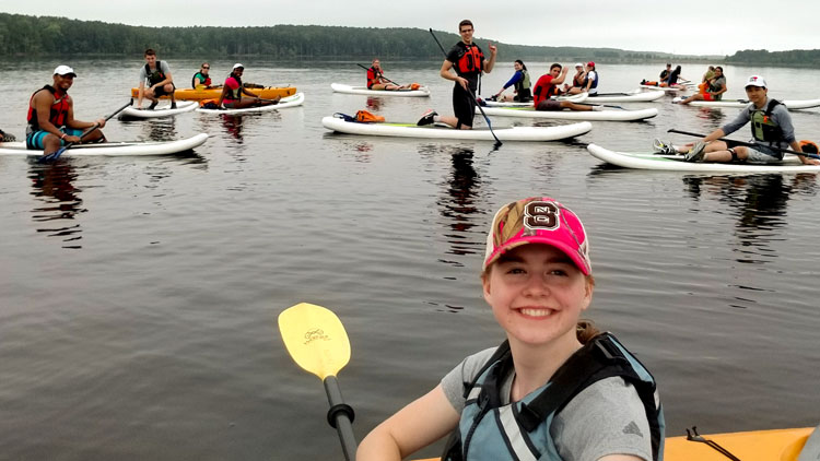 NC State students paddling at Falls Lake