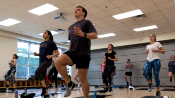 NC State Students taking group fitness classes.
