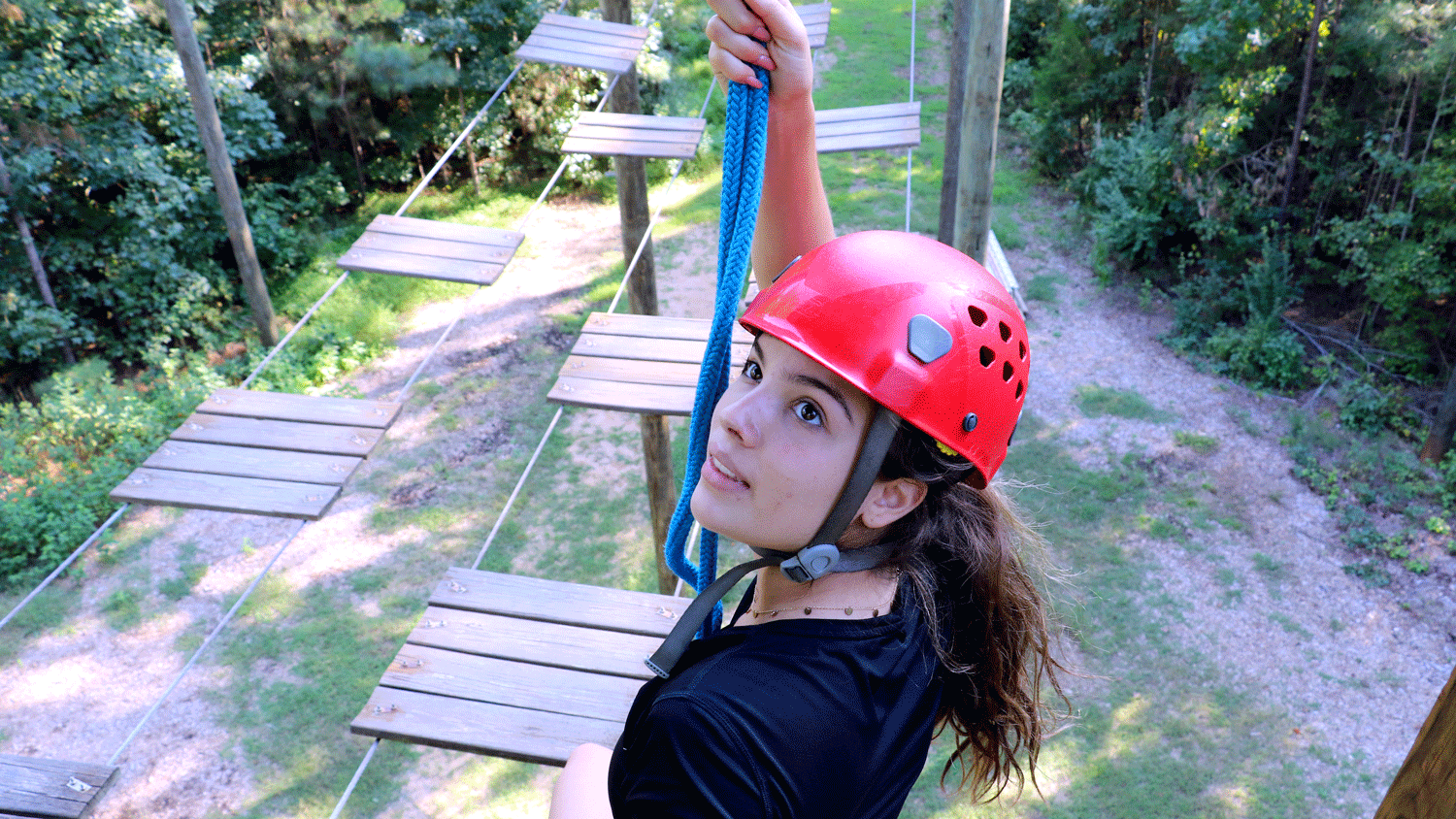 Student on High Ropes Course