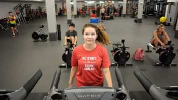 Staff and students use the newly renovated Carmichael gym Complex