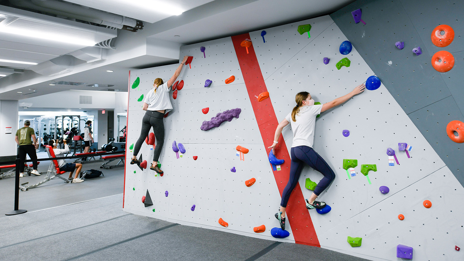 People climb a new modular wall at the Wellness and Recreation Center and Carmichael Gym.